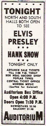 Elvis Presley Memphis 1956 Ad