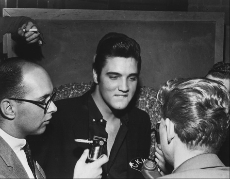 Elvis Presley at Vancouver, B.C., press conference, 1957