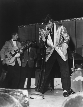 Elvis on stage in Vancouver in 1957