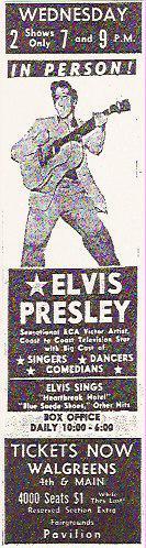 Elvis Presley Tulsa Ad 1956