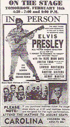 Elvis Presley Winston-Salem ad 1956